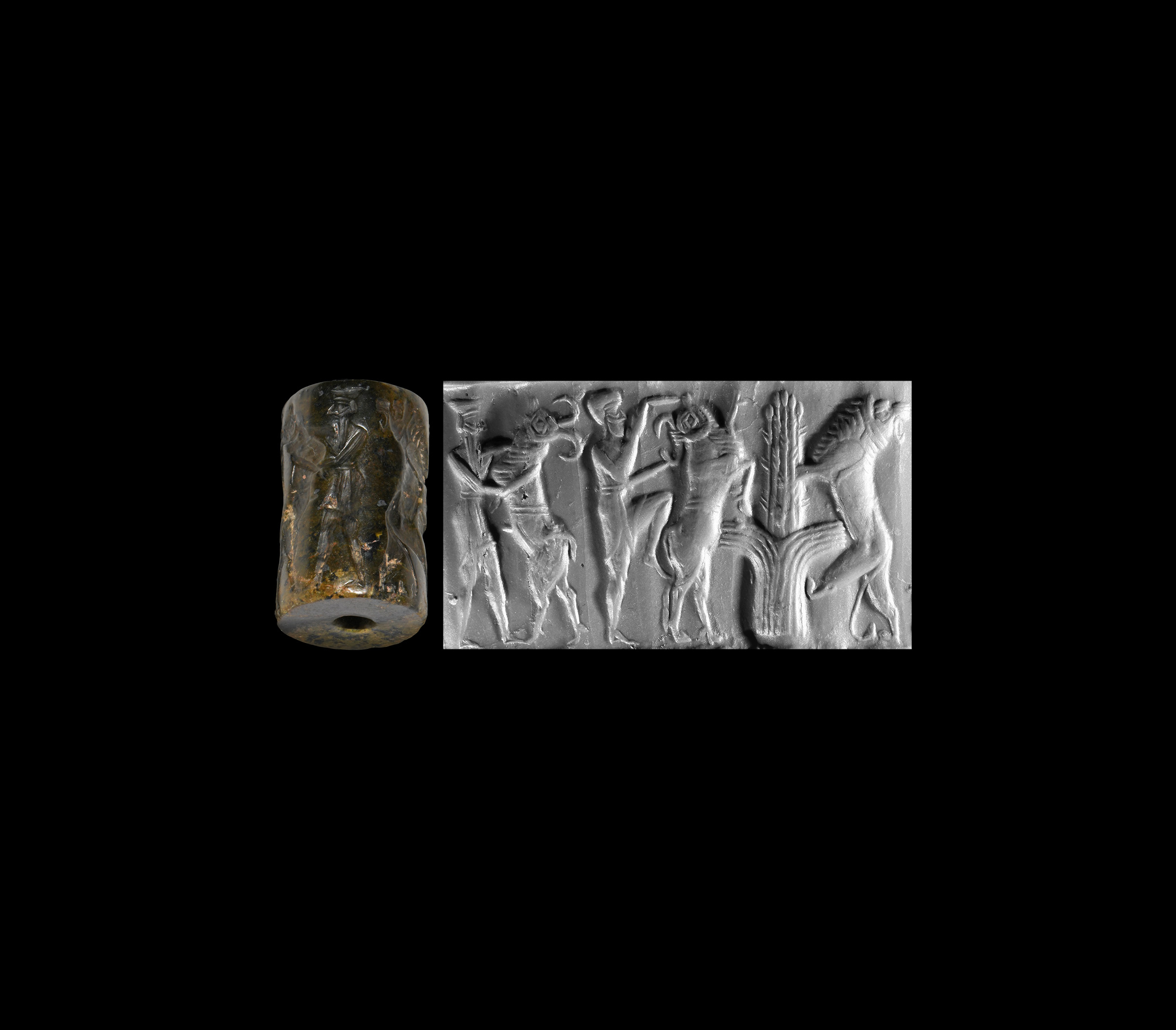 Western Asiatic Akkadian Cylinder Seal with Contest Scene