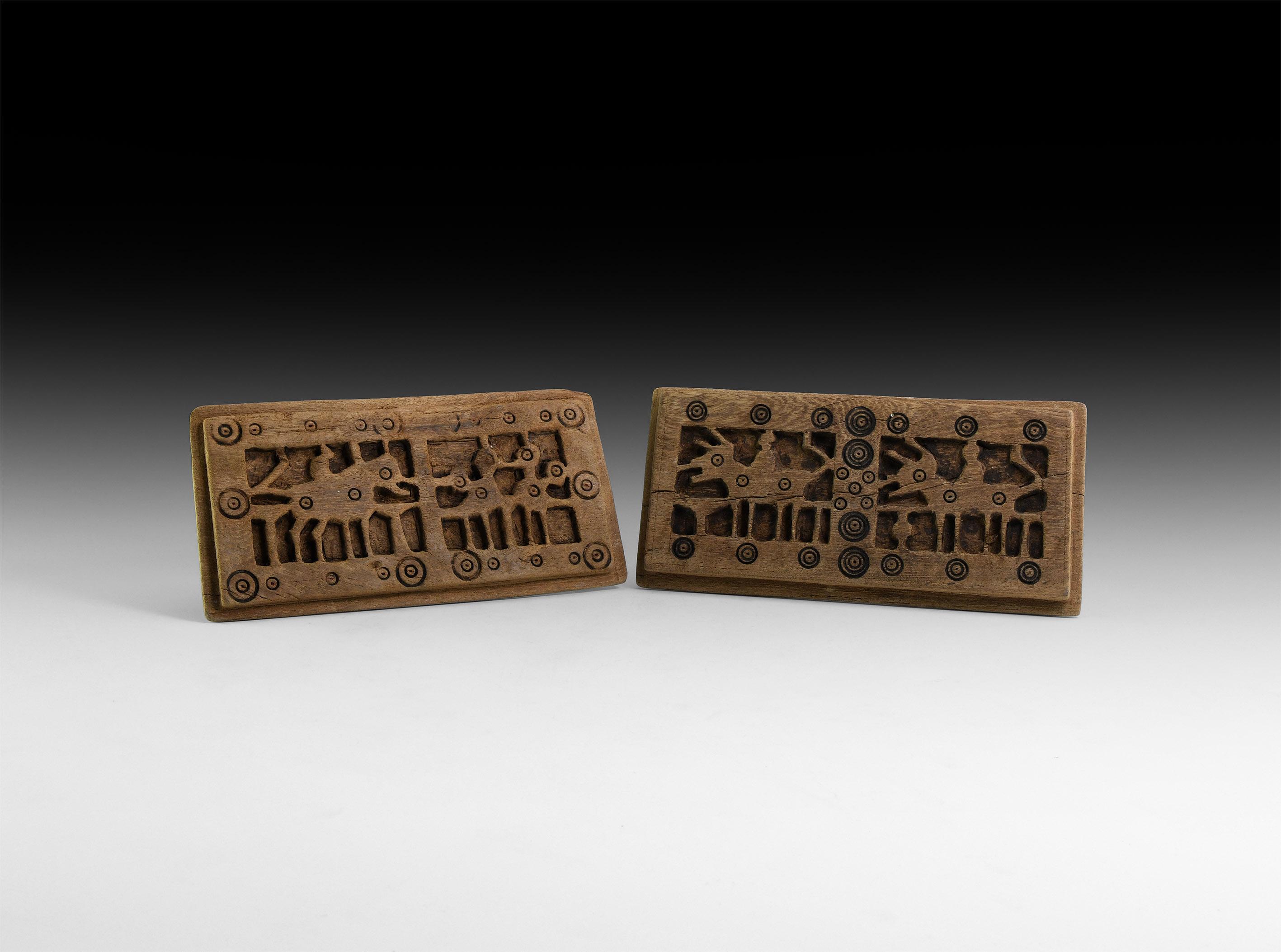 Egyptian Coptic Wooden Animal Plaque Pair