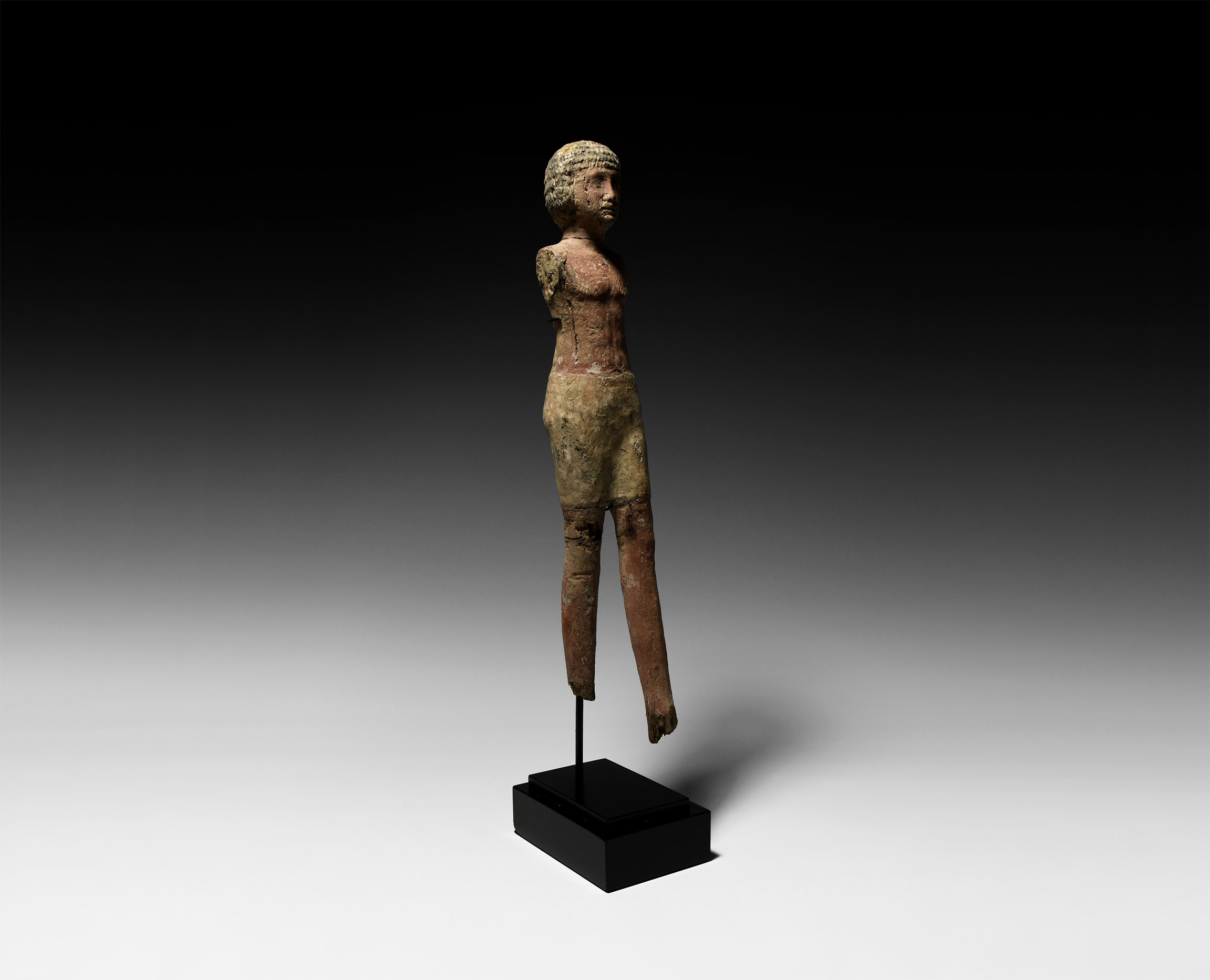 Large Egyptian Wooden Striding Figure