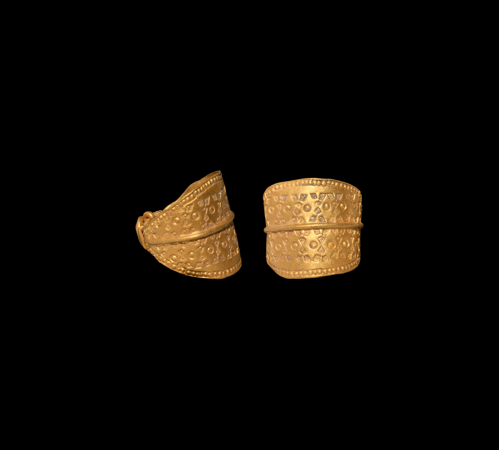 Viking Gold Ring with Stamped Design