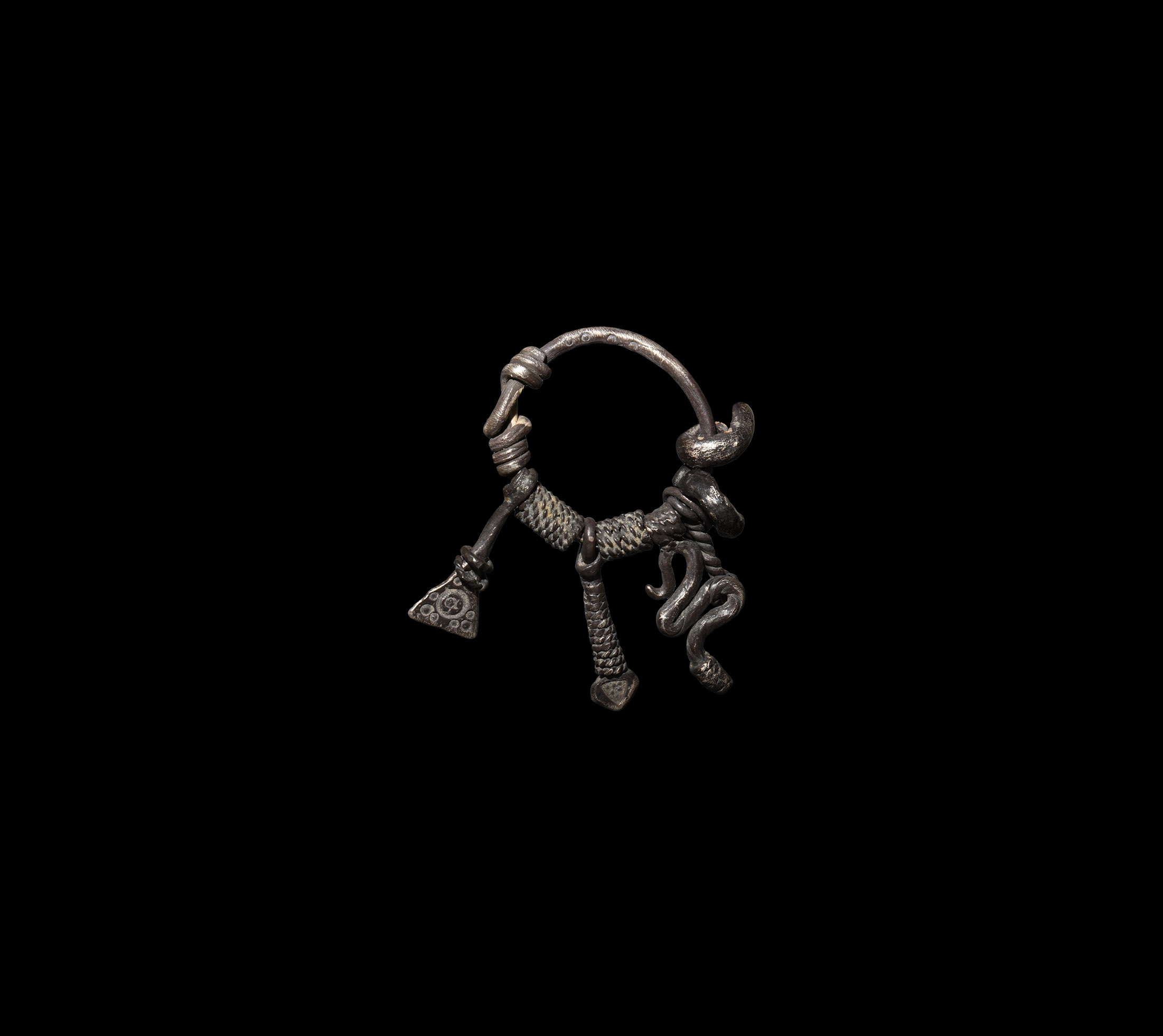 Viking Silver Pendant with Amulets
