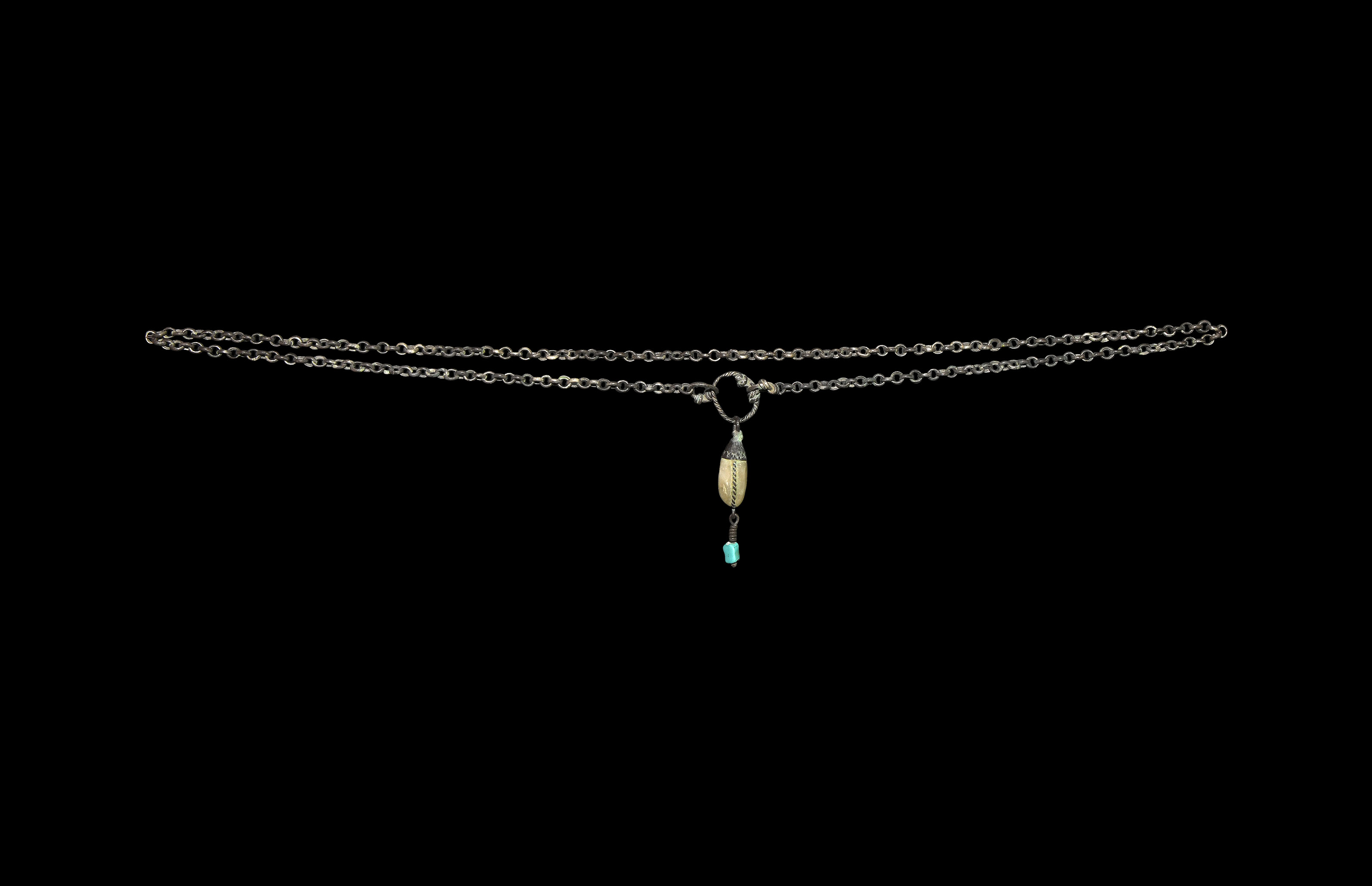 Viking Silver Chain with Gem Pendant
