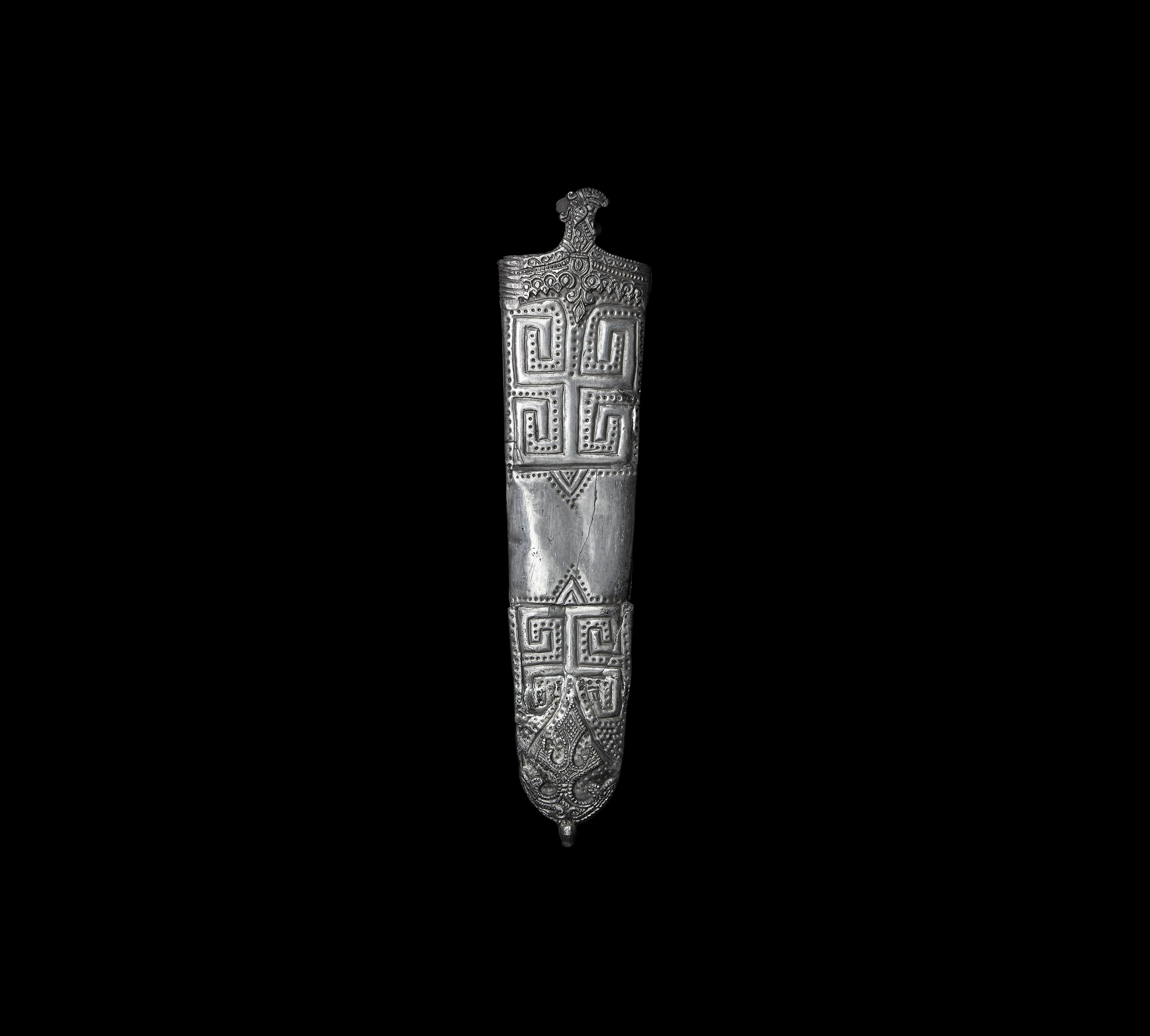Large Elaborate Viking Period Silver Sword Scabbard Chape