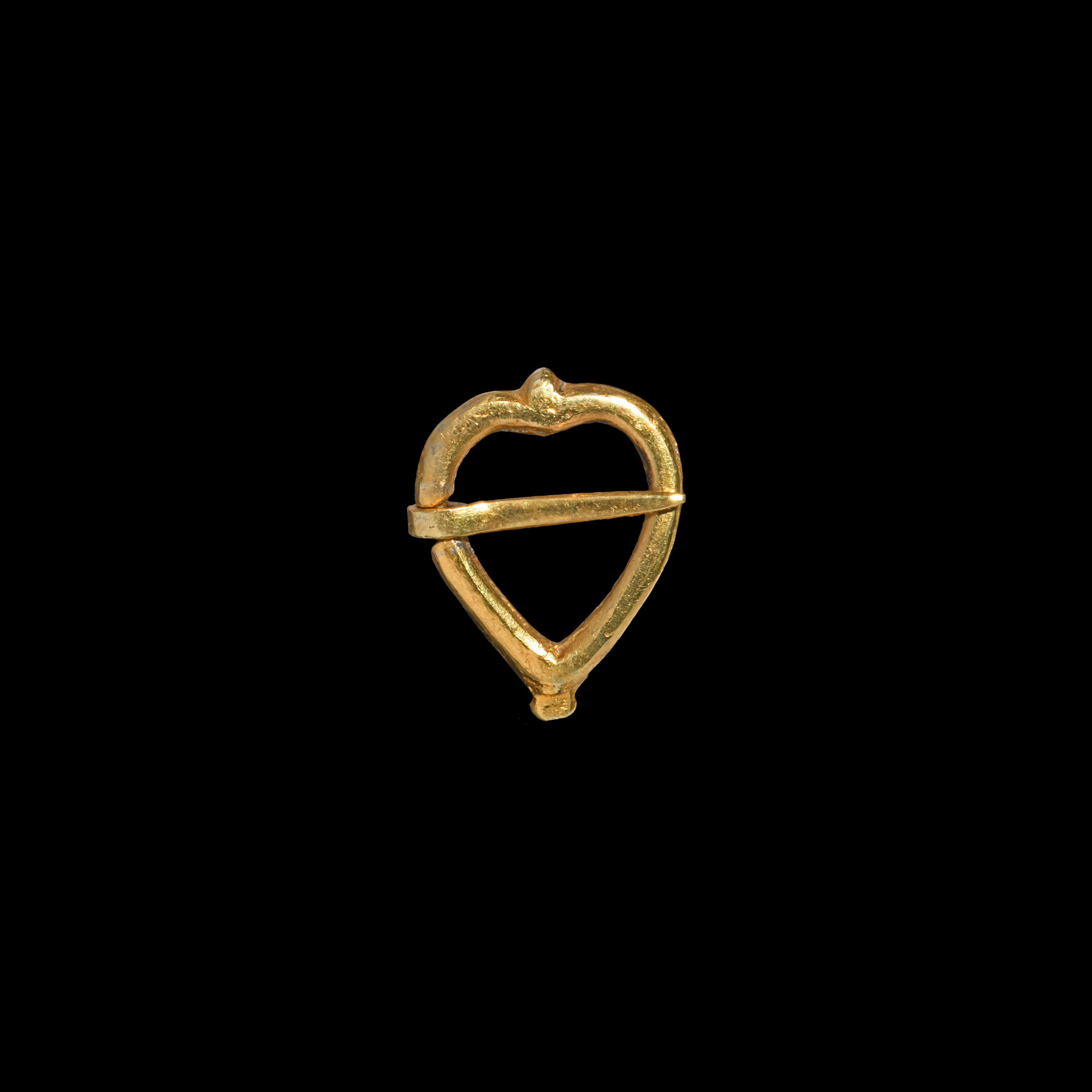 Post Medieval Gilt Silver Heart-Shaped Ring Brooch