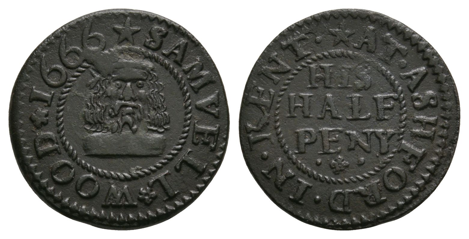 British Tokens - 17th Century - Kent - Ashford - Wood - Token Halfpenny
