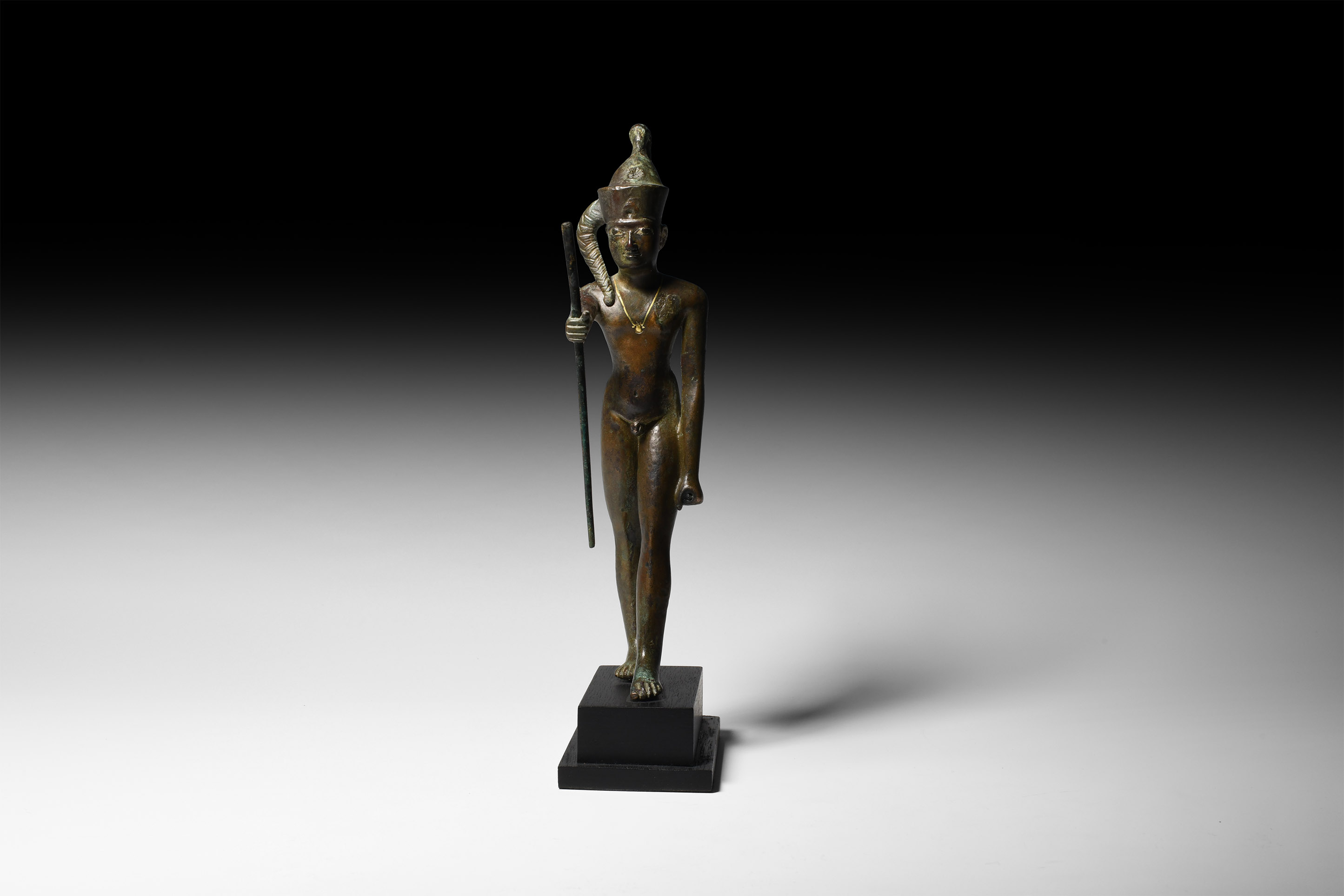Egyptian Statuette of the God Ihy with Gold Necklace and Silver Inlaid Eyes