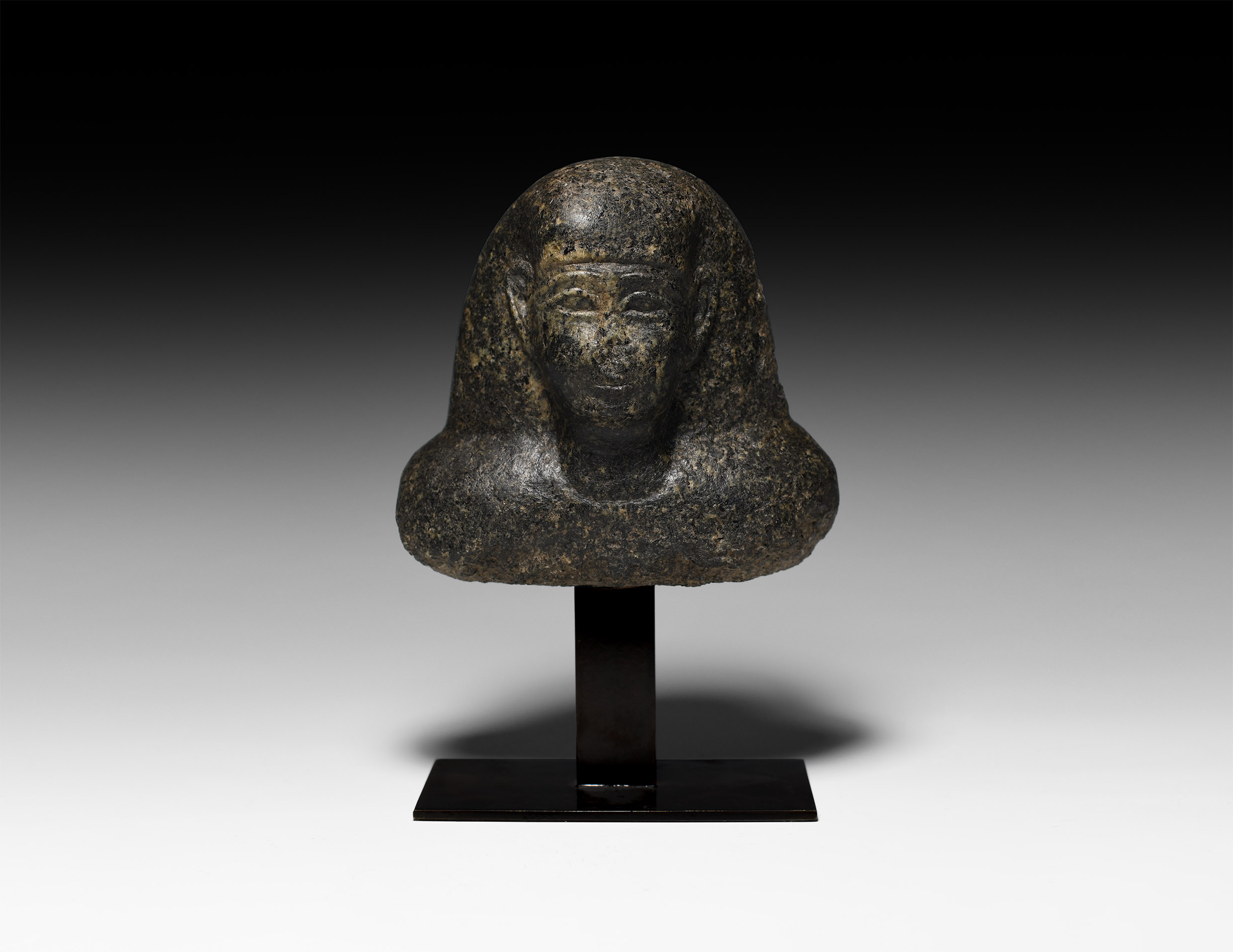 Egyptian Diorite Bust of a Dignitary with Hieroglyphic Inscription