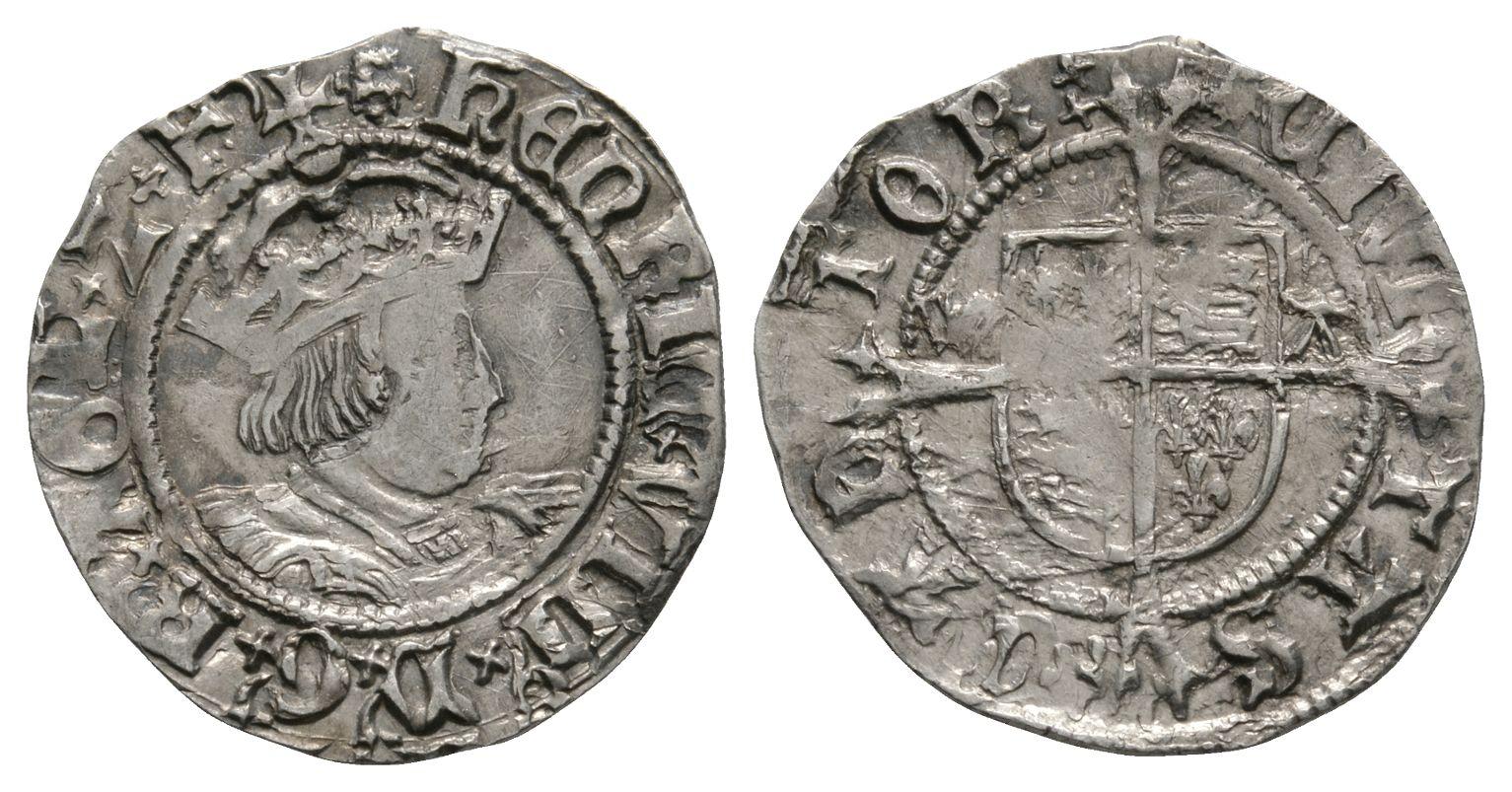 English Tudor Coins - Henry VIII - Canterbury / Warham - Profile Halfgroat