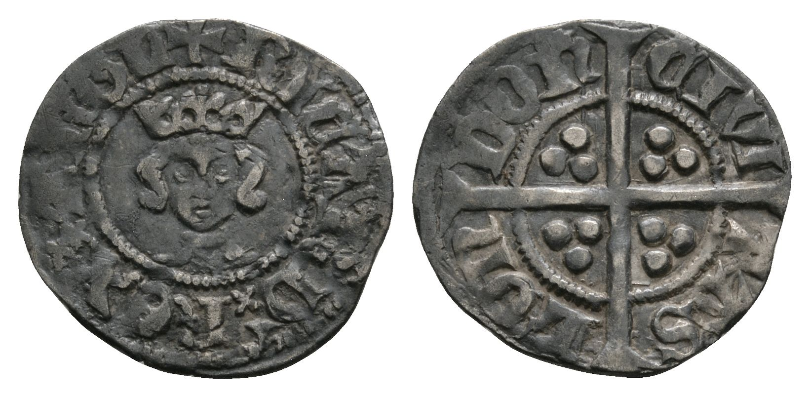 English Medieval Coins - Richard II - London - Long Cross Halfpenny