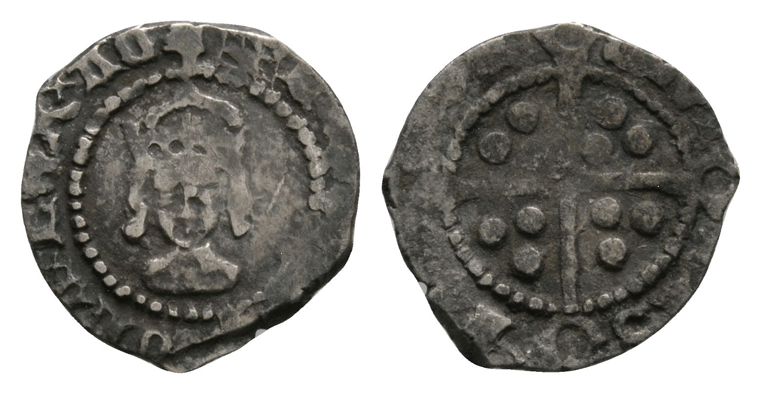 English Tudor Coins - Henry VIII - London - Long Cross Halfpenny