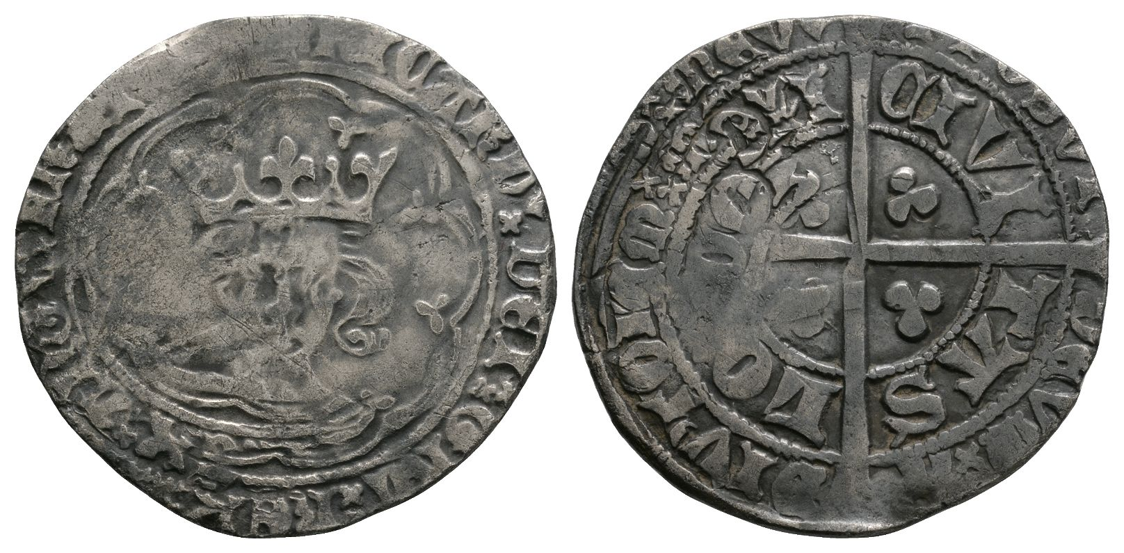 English Medieval Coins - Richard II - London - Long Cross Groat