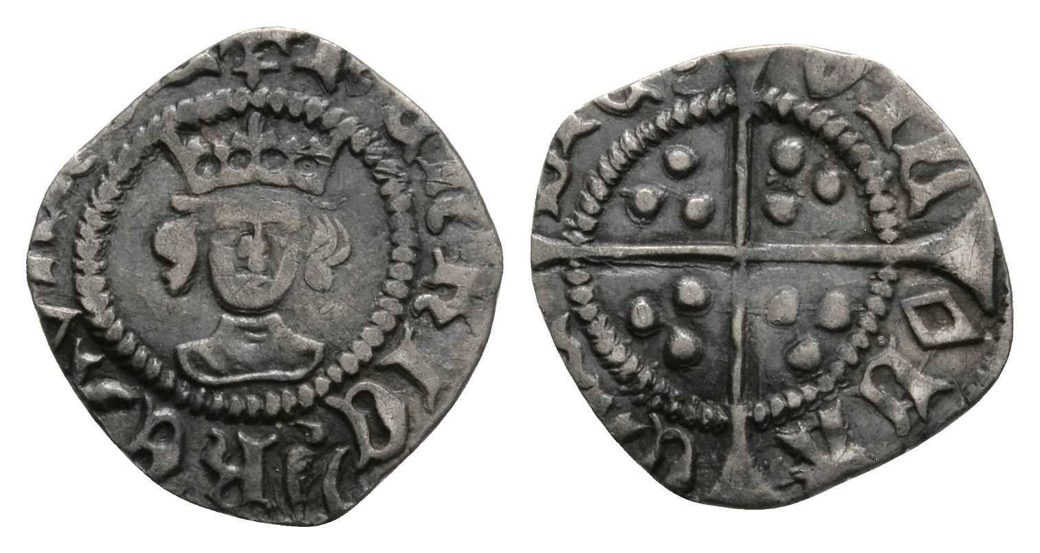 English Medieval Coins - Henry VI - London - Pinecone Mascle Halfpenny