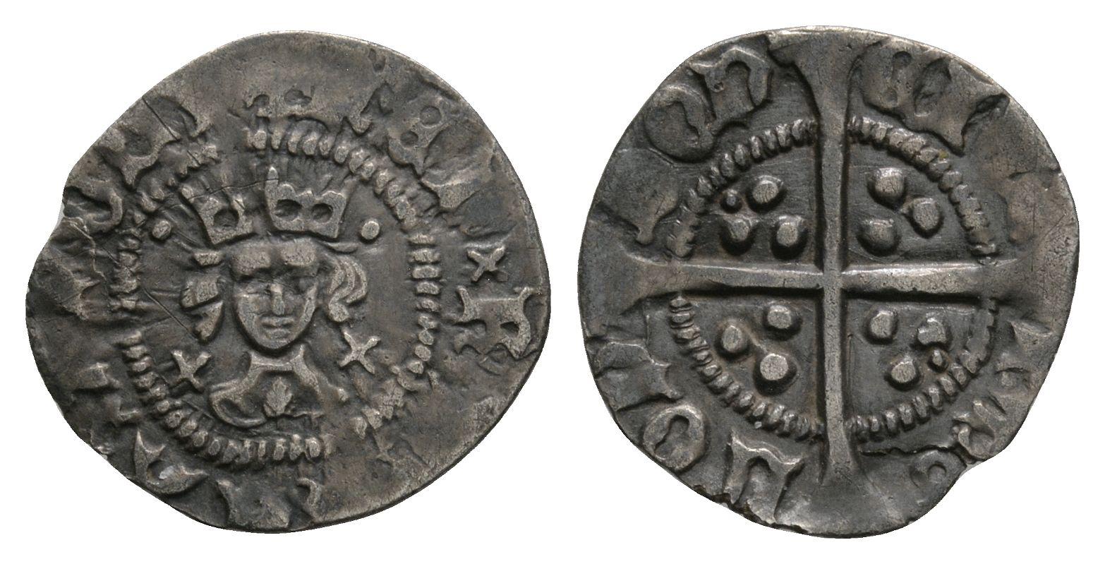 English Medieval Coins - Henry VI - London - Cross Pellet Halfpenny