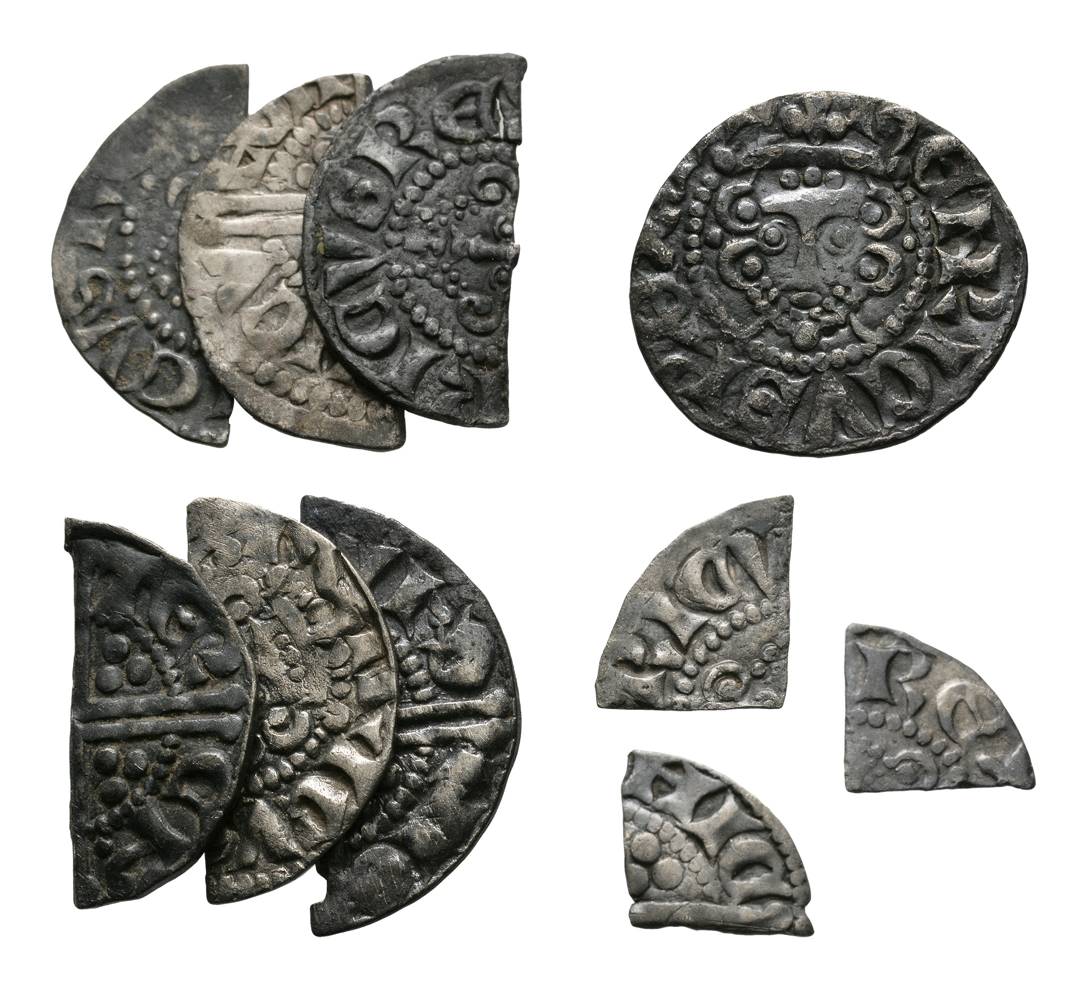 English Medieval Coins - Henry III - Long Cross Penny and Cut Fractions [10]