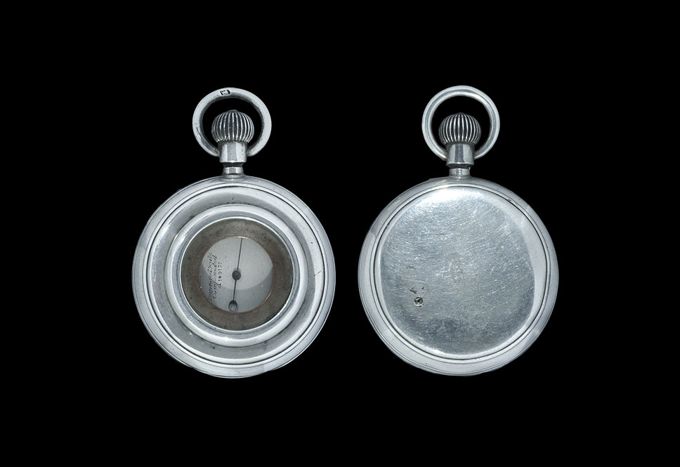 Antique Edwardian Silver-Cased Francis Barker Pocket Aneroid Barometer