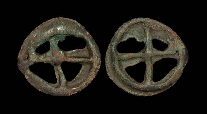 Celtic Iron Age Coins Gaul Switzerland Area Bronze Wheel Money