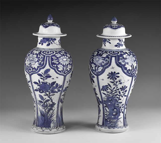 Chinese Blue and White Export Ware Meiping Vase Pair