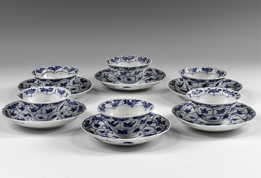 Chinese Blue and White Export Ware Bowl and Saucer Set