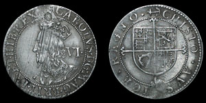 Charles I - Briots Milled Sixpence - Tower Mint - Anchor