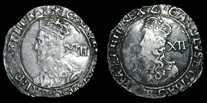Charles I - Tower Shillings (2) - Triangle, Star
