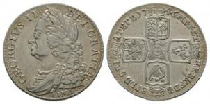 English Milled Coins - George II - 1745 LIMA - Shilling