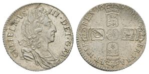 English Milled Coins - William III - 1697 - Sixpence