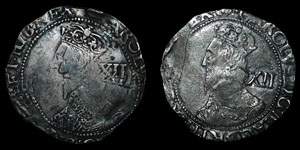 Charles I - Tower Shillings (2) -  (P), Sun