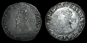 Charles I - Tower Sixpences (2) - Crown