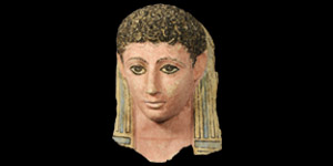 Egyptian Stucco Polychrome Face Mask of a Young Female
