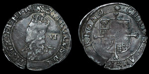 Charles I - Tower Sixpence - Tun