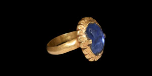 Medieval Gold Ring with Large Sapphire