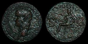 Roman Empire - Gaius (Caligula) - As - Vesta