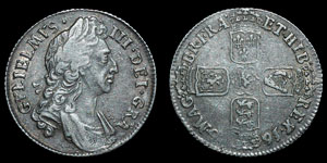 William III - Shilling - 1696 - Inverted A for First V in GVLIELMVS