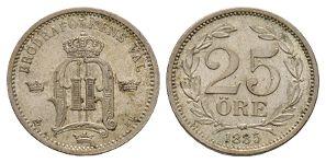 World Coins - Sweden - Oscar II - 1885 - 25 Ore