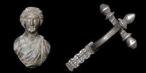 Roman - Silver Crossbow Brooch and Bronze Figural Mount
