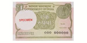World Banknotes - India - Government - 2015 - Specimen 1 Rupee