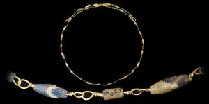 Roman - Gold and Blue Bead Necklace