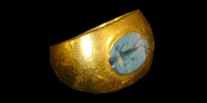 Roman - Gold Ring with Standing Figure Nicolo Intaglio Gemstone