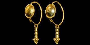 Roman - Gold Granulated Earrings