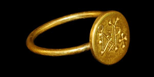 Byzantine - Gold Seal Ring with Monogram Intaglio