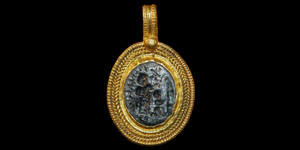 Byzantine - Gold Pendant with Inset Silver Intaglio