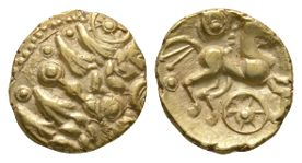 Celtic Iron Age Coins - Essex Chariot Wheel - Gold Quarter Stater