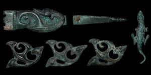 Celtic Iron Age - Bronze Triskele Mount Set (6 Pieces)