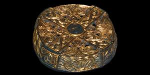 Viking Gilt Box Brooch with Masks and Interlace