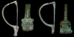 Roman - Two Bronze Inscribed Aucissa Brooches
