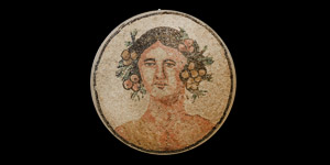 Roman Head of Bacchus Mosaic Panel