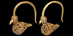 Gold Bird Earring Pair