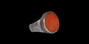 Timurid Silver Ring with Calligraphic Gemstone