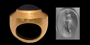 Greek Hellenistic Gold Ring with Nude Hero Gemstone