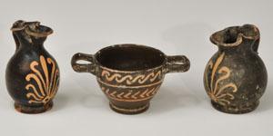 Greek - Xenon Ware - Black Glazed Skyphos and Two Oinochoai